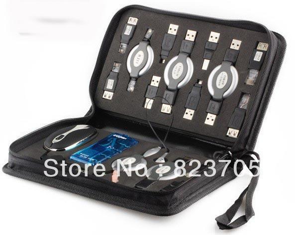 PC Portable Travel Kit Bag USB HUB MOUSE EARPHONE CABLE K0002A Eshow(China (Mainland))