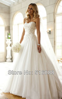 Free Shipping Elegant White/Ivory Sweetheart Organza Applique A-Line Wedding Dress/Bridal Gown Custom Size Wholesale/Retail