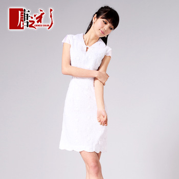 White swan pure double layer yarn cheongsam fashion summer women's 2013 short-sleeve cheongsam dress