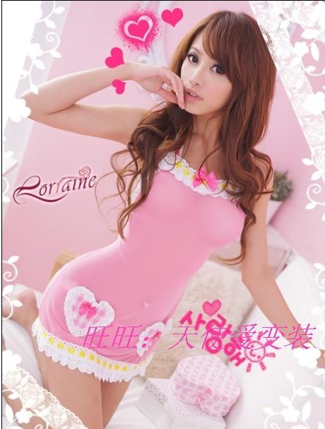 Pink small skirt spaghetti strap nightgown sleepwear suspender skirt princess dress ds costume(China (Mainland))