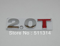 Free shipping universal type alloy 3D 2.0T Emblem car badges, 2.0T Metal Car displacement Logo Emblem sticker