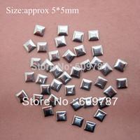 Free Shipping 2000pcs/lot 5mm Silver Square 3d metal nail studs nail decorations