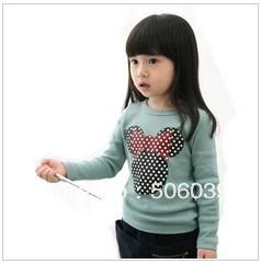 free shipping 2013 spring new arrival korea style  girls children long sleeve cotton T-shirt round collar render upper garment