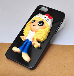 glued colorful yellow hair girl resin doll cell phone case for iphone 5 4S hard cover can choose ipod touch 5[JCZL DIY Shop](China (Mainland))