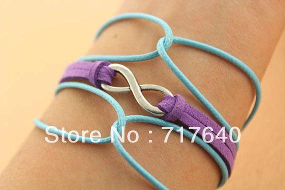 Free shipping! 6pcs/lot! New Fashion Jewelry 2013 Bracelets Unique Silver Infinity Charm Bracelet Multi Color Hemp zxl001(China (Mainland))