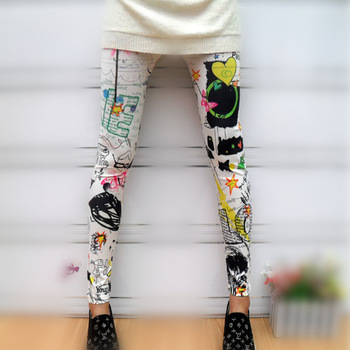 IMIXBOX Graffiti spray paint color splash-ink leggings the butterfly sunflower Free Shipping W3039