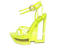 2013 New Fashion Womens Neon PVC High Heels Transparent Sandal Shoes