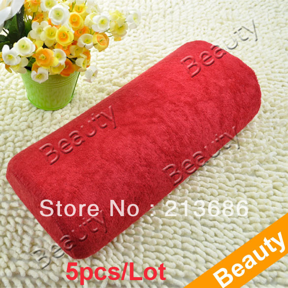 5pcs/Lot New Soft Hand Cushion Pillow Rest Nail Art Manicure Art Red Free Shipping 4061(China (Mainland))