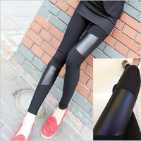 Faux leather cotton patchwork ankle length legging asymmetrical patchwork casual pants legging pants