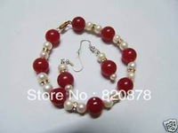 Beautiful red jade &white pearl bracelet& earring set