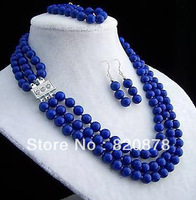 3 row 8mm lapis lazuli necklace bracelet earring sets DF068