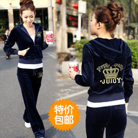 2013 spring and autumn velvet sports set female sweatshirt set embroidery casual sportswear