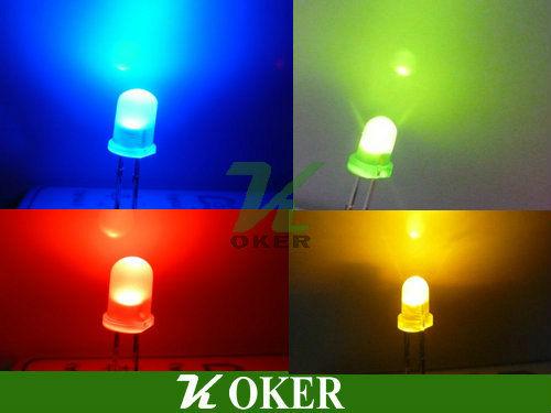 Livraison gratuite 5mm bleu,/vert,/jaune,/rouge. 4000 pcs diffuse led lampe ronde