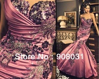 Luxurious Sexy Sweetheart Satin Flowers Beading Mermaid Ruffles Evening Dresses