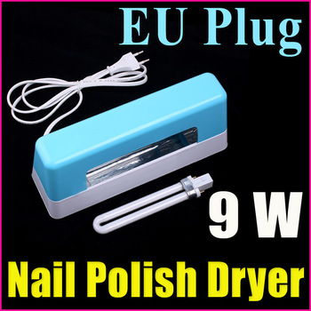 9W Blue Professional Nail Art Equipment UV Lamp DIY Gel Curing Nail Polish Dryer Light (EU Plug) ,Free Shipping