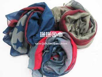 Cape beach silk scarf american flag scarf bali yarn scarf multicolor