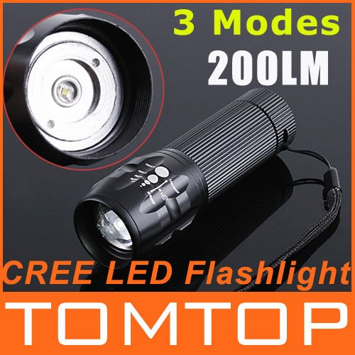 3 Modes LED Flashlight Torch Zoomable 200 Lumen CREE LED flashlights waterproof 4 color choice drop shipping free shipping(China (Mainland))