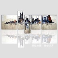 Hand painted oil painting on canvas painting frameless abstract painting picture city skyline home decor