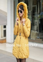 Free shipping!!!2013 winter princess medium-longjacket bright color wadded jacket female thickening zipper  hood wadded jacket