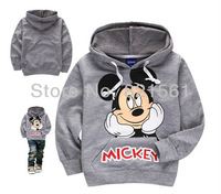 wholesale thin gray grey MICKEY MOUSE childrens clothing boy's girl's top shirts Hooded Sweater hoodie free shipping