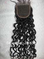 "AAAAA  18"" Natural Color  Italy Fashion Curl  Peruvian Virgin Human Hair  4""*4""  Lace Closure"