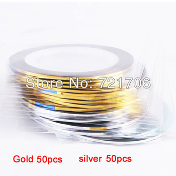 50pcs Gold Color + 50 pcs Silver Color Striping Tape Metallic Yarn Line Nail Art Decoration Sticker + Free Shipping