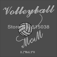 DHL Free Shipping 45pcs/Lot Volleyball Mom hot fix rhinestone appliques transfers design,MOQ(30pcs each design) is acceptable