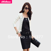 Free shipping 2013 New Lady's Long Sleeve Shrug Suits small Jacket Fashion Cool Women's Rivet Coat With 2 Colors Balack/White