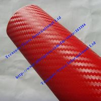 fast shipping1.52*30m wholesale 3d red Carbon fiber wrapping with airfree bubble top selling cfvw30m