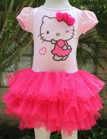 Wholesale 2014 new design b2w2 girls hello kitty  with rose red girls fashion dress free shipping 5pcs/lot BX07