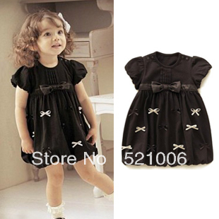 New arrival summer o-neck girl's short-sleeve brown cotton party princess dresses for free shipping(China (Mainland))