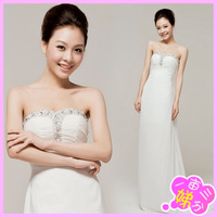 2013 bride evening dress evening dress long tube top design fish tail train formal dress 064