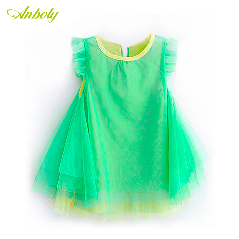 Female child candy color gauze princess one-piece dress baby lining cotton cloth yarn fresh short-sleeve dress(China (Mainland))