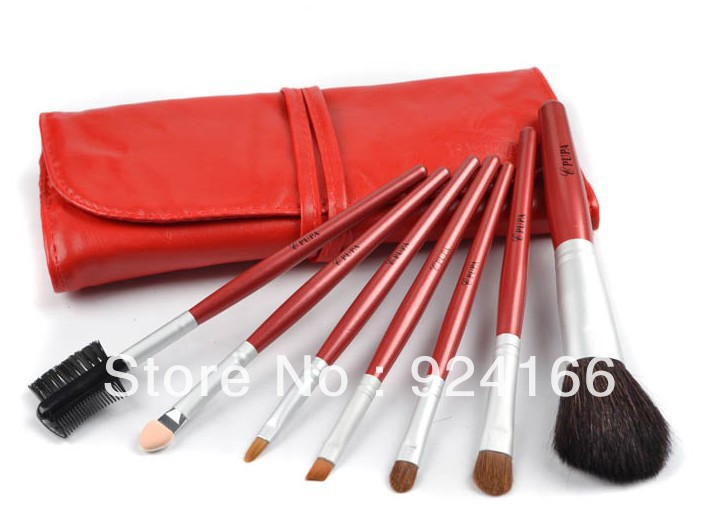 Free shipping!! NEW production! PUPA 7pcs/set makeup brushes(China (Mainland))