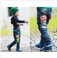 Free shipping new 2014 Embroidery Badge Children's Jeans for Boys and Girls Pants Denim Trousers Height 90cm to 135cm