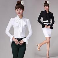 2013 Spring Female patchwork basic shirt  ladies' ol slim long-sleeve solid bow flare sleeve formal blouse