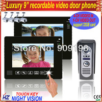 "Free shipping 9"" wired recordable video door intercom 1 to 2,supporting 4CH video in, 1CH video out,night vision, door unlcoking"