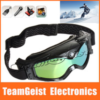 6pcs/lot HD DVR 720p Video Camera Goggle Snow Ski Sports eyewear Sunglasses LED light anti-fog treatment Snowboard Ski Glasses
