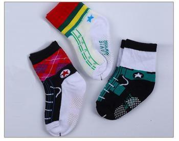 free shipping wholesale 12 pairs/lot 0-12M infant boy kids antislip cotton short socks newborn babies children sox shoes winter
