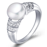 Free Shipping Princess AAAA Natural Pearl Ring In 925 Sterling Silver Top Elegant Birthstone Gift SR1037PL