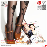 2pcs free shipping tatoo tights Summer ultra-thin legs t seamless basic rompers sexy rose jacquard female  pantyhose sexy