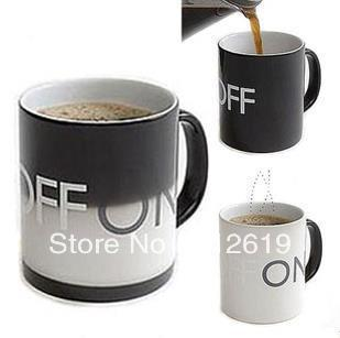 Drop shipping!ON and OFF Color Changing Mug Cup Amazing Ceramic Cup Temperature Changing(China (Mainland))