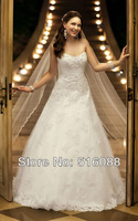 Free Shipping Elegant Strapless White/Ivory Scoop Appliques Organza A-Line Wedding Dress/Bridal Gown Custom Sz Wholesale/Retail