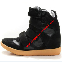 Drop Shipping,Isabel Marant Leather,Color-Full black,Size EU35~42,Breathable Velcro Sneakers,Height Increasing 7cm,Free Shipping