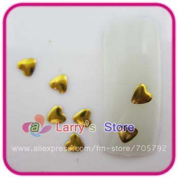 1000pcs Gold Color Heart Shape Rivet 3D Metallic Alloy Accessories Nail Art Decoration 4*4mm DIY Acrylic Metal Rhinestone Studs