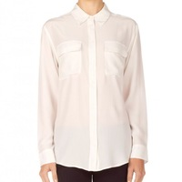 2013 silk crepe de chine mulberry silk shirt casual loose double pocket white multicolor