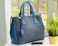 Free shipping Totes   women's portable messenger bag serpentine pattern soft PU patchwork block color zipper women's handbag