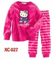 new wholesale children kids kitty pajamas sleepwear clothes sets cartoon pajama girls white pink clothing set free shipping