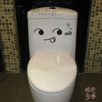 Freeshipping :cartoon cute  Naughty smiling face wall stickers Children room decoration Toilet sticker 5pcs/lot