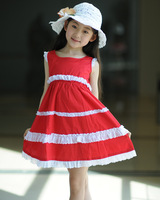 2012 red princess dress red tank dress one-piece dress girls clothing princess